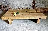 Altholz Tisch massiv, sandgestrahlt,rustikal, Upcycling-Produkt aus alten Deckenbalken Maß 130 x 85 x 28 cm Handmade in Germany, Unikat Couchtisch, Wohnzimmertisch, Loft-Tisch