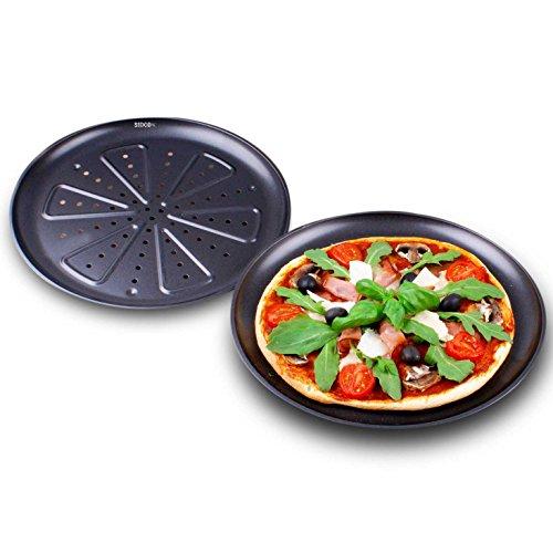 SIDCO ® 2 x Backblech Pizza Pizzablech Pizzabackblech antihaftbeschichtet Ø 28 cm
