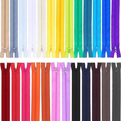 Frienda 50 pezzi nylon rotolo cerniere chiusura lampo per sartoria cucire artigianato 25 colori cerniere in nylon (20 pollice)