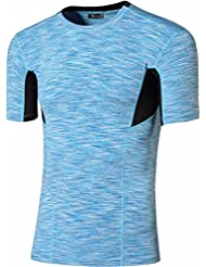 Jeansian Hombres Deportes Wicking Breathable Quick Dry Corta Manga Yoga Gym Correr Training Camisetas Tee Tops SMF012