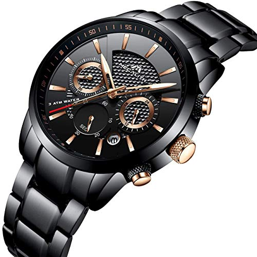 Montre Homme Montre Militaire Etanche Chronographe Sport Noir Acier Inoxydable Montres Bracelets de Luxe Mode Design Date Lumineuses Analogique