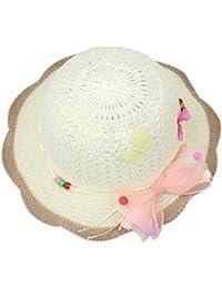 Sombrero de paja para niños Sombrero de visera para playa de verano Sun Sombrero rojo de tres mariposas Estilo