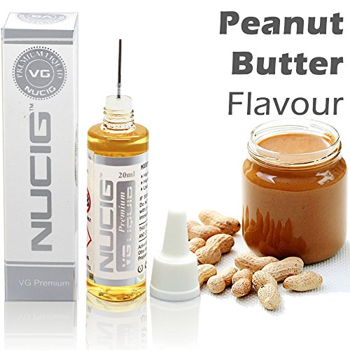 Peanut Butter Flavour Large 20ml Eliquid ★ Over 30 Great Flavours ★ Exclusive Integrated Dispensing Point ★ VG Premium Base | for ecigarette | electric cigarette | electronic cigarette | clearomiser | clearomizer | eshisha | ehookah | e cigarette (Peanut Butter) | Nicotine Free | Tobacco Free