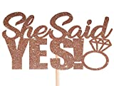 Cotone Candy Co She Said Yes Rose Gold Glitter Cake Topper Wedding Engagement Party Bridal Shower Topper per Cupcake