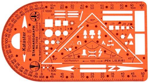 Katasterschablone Planzeichnen Architekt Schablone Zeichenschablone - Innenarchitektur Technisches Zeichnen kleines Dreieck Kreis Quadrat Symbole Maßstab 1:500 1:1000