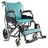 ACEDA Faltbarer Rollstuhl Mit Rutschfest Armlehnen,12Kg Leichter Dicker Stahl,Transportrollstuhl Reiserollstuhl,Schwarz,Green