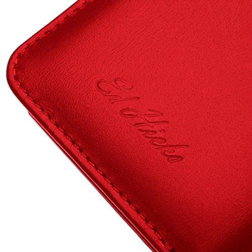 """Luxus Echtes Leder iPhone 6S iPhone 6 Ledertasche Kompakt Brieftasche Hülle mit """"Doppelt Schild"""" Schutz und Gegenüber Magnetverschluss um vermeiden Kreditkarte Korruption. Die Rila in Scharlachrot Scharlachrot Personalisiert"""