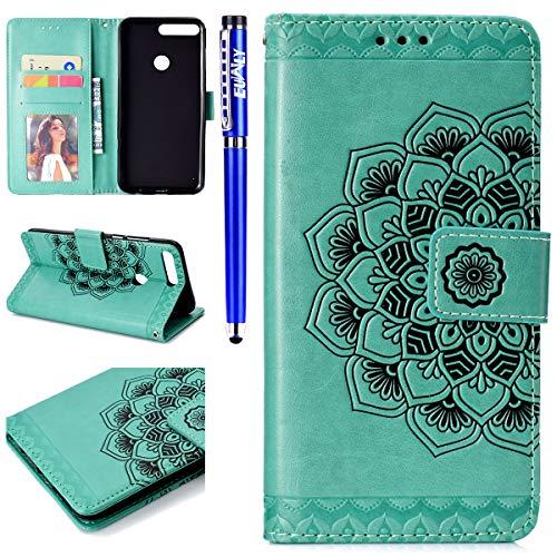 EUWLY Kompatibel mit Huawei Y7 2018 Handyhülle Flip Case Brieftasche Ledertasche Mandala Blumen Muster Leder Hülle Schutzhülle Klapphülle Handytasche Wallet Cover Kartenfach,Grün