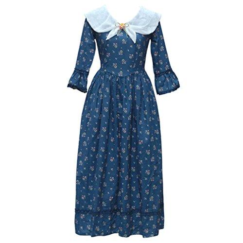 Cosplayitem Damen Mädchen Weinlese Blumen Kleider Mittelalterliche Kleid Land Kleid (Blau Prinzessin Mittelalterliche Kostüme)