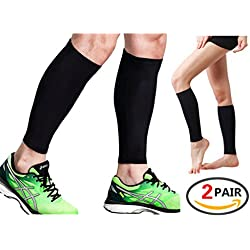 2 pares de mangas de compresión, para espinilleras, pantorrillas, recuperación deportiva – calcetines de pierna para hombres y mujeres – negro – Protector de pantorrilla para correr, maratón, rugby, caminar, tenis, golf, ciclismo, maternidad, negro