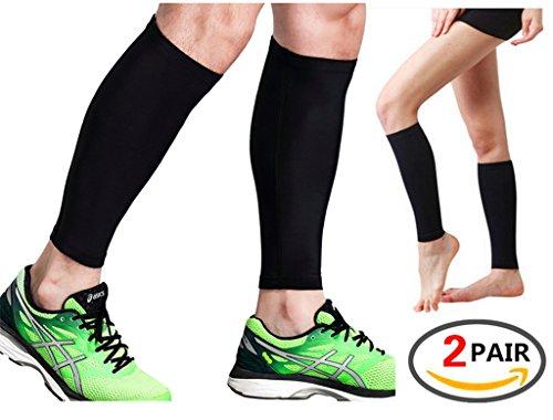 2 pares de mangas de compresión, para dolor de espinilla, pantorrillas, esguinces, recuperación deportiva – calcetines de pierna para hombres y mujeres – negro – Protector de pantorrilla para correr, maratón, rugby, caminar, tenis, golf, ciclismo, maternidad., negro