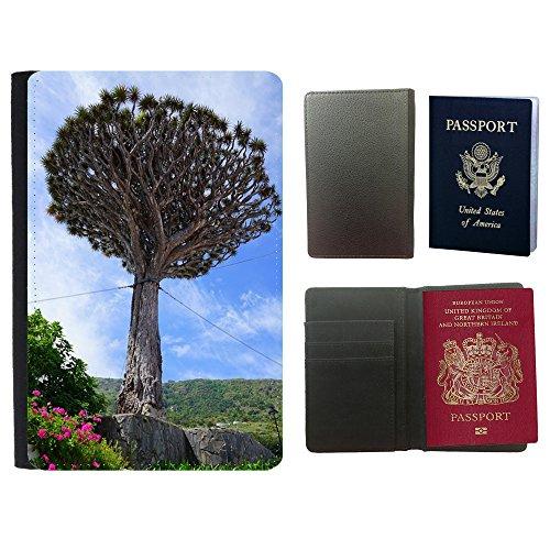 Muster PU Passdecke Inhaber // M00169288 Kanarischen Drachenbaum Unterstützung // Universal passport leather cover