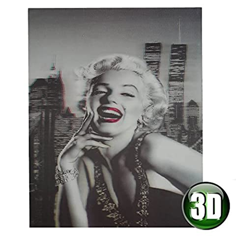 Marilyn 3D Wall Art Picture hologram effect - Black & white with red lipstick & skyscraper background