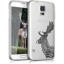 kwmobile Funda para Samsung Galaxy S5 / S5 Neo / S5 LTE+ / S5 Duos - Case para móvil en TPU silicona - Cover trasero Diseño ciervo zentangle en negro blanco