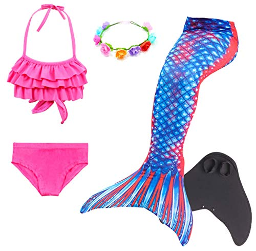 Kinder Kostüm 9 - LCXYYY Mädchen Meerjungfrauen Schwanz Flosse zum Schwimmen Schwimmanzug Badeanzug Prinzessin Cosplay Kostüm Meerjungfrauenschwanz für Kinder Bademode Tankini Bikini Set Monoflosse Blumenkranz 5pcs