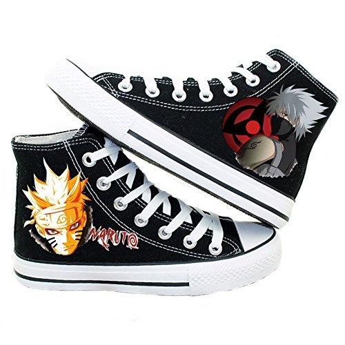 o Hatake Kakashi Cosplay Schuhe Leinwand Schuhe Sneakers, Herren, schwarz (Kostüm Box Größentabelle)