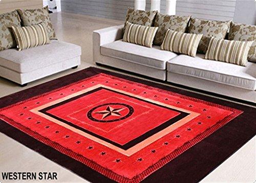 Rustikaler Western Teppich in Eine Tasche mit Lone Star State Texas Stars Deep Rot/Burgund 6ft x 9ft