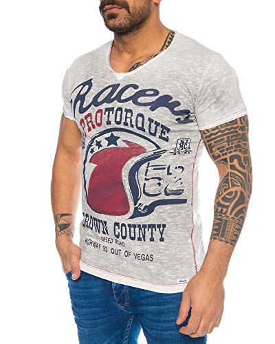 LARAZÉ Prince Cool Johnny Herren T-Shirt Kurzarm Shirt Tee Mit V-Ausschnitt S-XXL, Größe:L, Farbe:Grau -