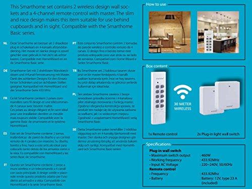 Smartwares SmartHome 2-er Set Funksteckdosen, extra flach für Geräte bis 460 W mit 4-Kanal Fernbedienung, 1 Stück, SH5-SET-FL - 5