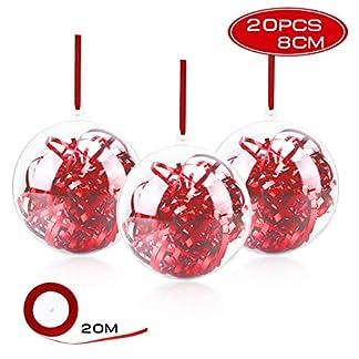 Gifort Bola de Navidad, Bolas Navideña Transparente de 20 pcs Bola Rellenable de Navidad para la decoración casera de la Navidad del Banquete de Boda(8cm)