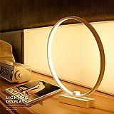 ELINKUME Circle LED Tisch & Nachttisch Lampe, Modern Minimalistisch Design, 12W Built-in Light Source, Acryl LED Modellierung Lampe perfekt für Home Decor (Warmweiß)