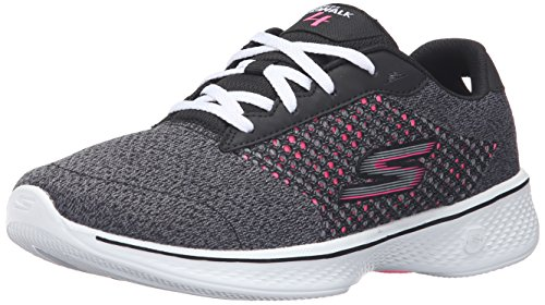 Skechers Damen GOwalk 4-Exceed Sneaker, Schwarz (BKHP), 40 EU (Womens Slip On Tennis-schuhe)