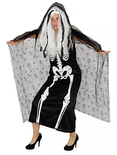 Foxxeo Skelett Kleid mit Umhang für Damen zu Halloween - Größe S bis XXL - Knochenkleid mit Cape Fasching Karneval Damenkostüm Größe L