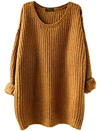 Wenyujh Damen Pullover Strick Pulli Sweatshirt Lang Herbst Winter  Langarmshirt Einfarbig Loose Fit Casual 648723b7fe