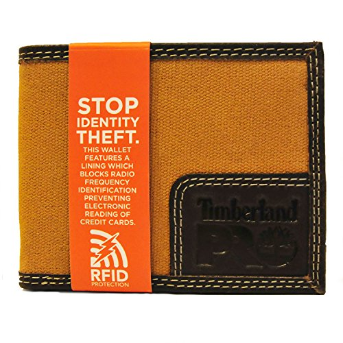 Timberland PRO Men s Canvas Leather Trifold Wallet with Back ID Window  Khaki