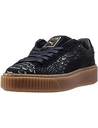 Puma Mujer Negro/dorado Basket Exotic Skin Platform Zapatillas