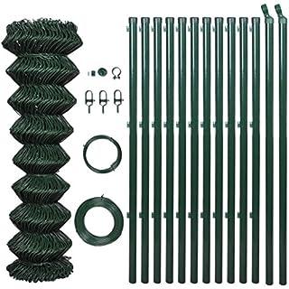 Festnight- 25m Maschendrahtzaun Set 80cm höhe | Maschnzaun Gitterzaun Drahtzaun Metall Gartenzaun Zaun-Set mit PVC-Beschichtung 0,8 x 25 m Grün