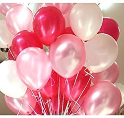 Themez Only BALLOON JUNCTION Balloons Metallic HD (WHITE+ RED+ PINK) - Pack of 51