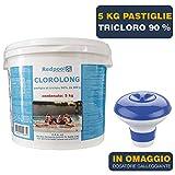 BuyStar 5 kg Cloro in pastiglie per Piscina gr 200 pastiglie tricloro 90% | Trattamento Manutenzione Acqua Piscina | con dosatore Galleggiante Incluso