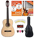 Classic Cantabile Acoustic Series AS-851-L Klassikgitarre 7/8 für Linkshänder Starter-SET (Konzertgitarre, Bag/Tasche, Schule, CD, DVD, Plektren, Saiten, Stimmpfeife) natur