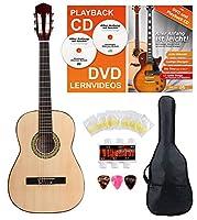Classic Cantabile Acoustic Series AS-851-L Klassikgitarre 7/8 für Linkshänder Starter-SET (Konzertgitarre, Bag/Tasche, Schule, CD, DVD, Plektren, Saiten, Stimmpfeife) natur