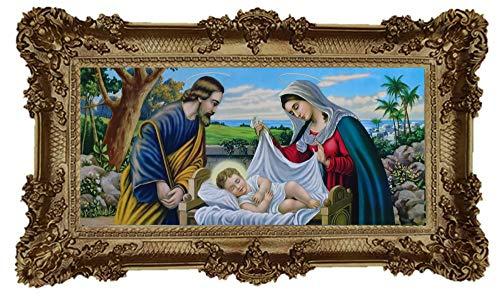 Wunderschönes Repro Barock Antik Look gerahmtes Gemälde mit Ornamentverziehrungen in den Rahmen montiert Motiv Jesus Maria Josef Sacra Familie Ikonen Bild Repro 96x57cm (Gold)