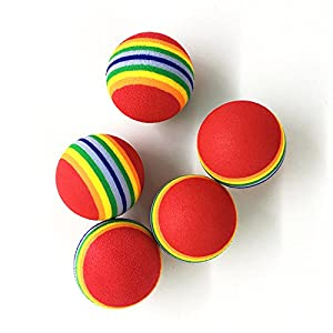 Ecloud Shop® 2 pieces X 5 Pet toy ball cat toy cat toy Colorful ball foam ball tampons