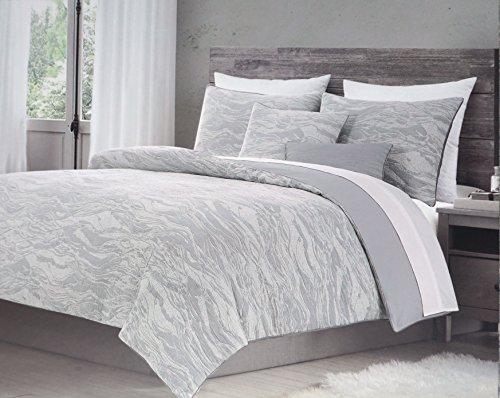 Metallic Stripe Bettwäsche (Bettbezug Set, 3Stück Queen Größe gewellt Geometrische Jacquard Strukturierte Muster in Grau Tan Metallic, Harlow Betten)