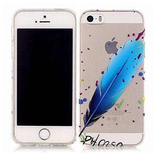 Etsue Silikon Case für iPhone SE/iPhone 5S [Eiffelturm Pflaume Baum] Transparent TPU Schutzhülle, Bunte Blumen Schmetterling Painted Ultradünne Klare Silikon Gel Schutzhülle Weich TPU Case Crystal Cle Blau Feder