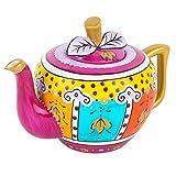 Artvigor, Porzellan Teekanne 1 Liter, Handbemalt Kaffee Kanne, Apfel Muster, Geschenkverpackung