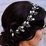 Jovono Haarschmuck, für Hochzeiten, Weinrebe, Brautschmuck, Kopfschmuck mit Blume und Perle für Damen, silberfarben