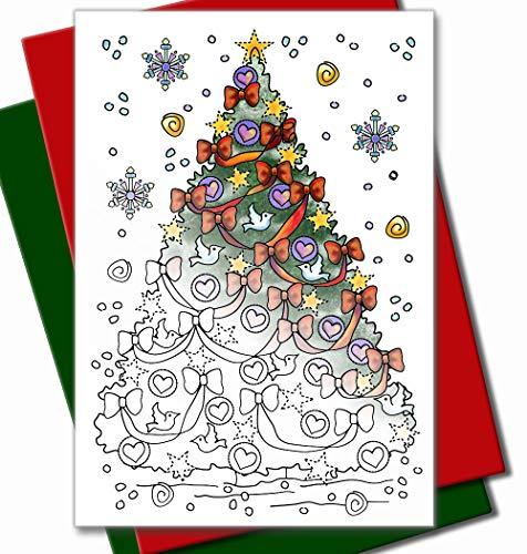 Art Eclect Weihnachtskarten zum Ausmalen für Erwachsene und Kinder   10 Einzigartige Designs zum Ausmalen und Versenden   Einschließlich Umschläge   Set C2