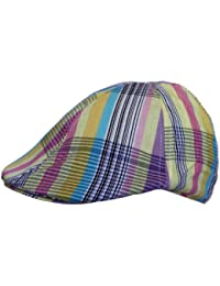 Mens Flat Cap Hat Country Check Striped Print in Multicoloured Yellow
