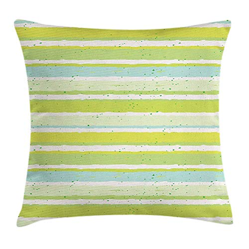 Stripe Silk Boys Band (VVIANS Abstract Throw Pillow Cushion Cover, Horizontal Stripes Color Bands with Splashes Retro Style Dirty Messy Look, Decorative Square Accent Pillow Case, 18 X 18 inches, Apple Green Seafoam)