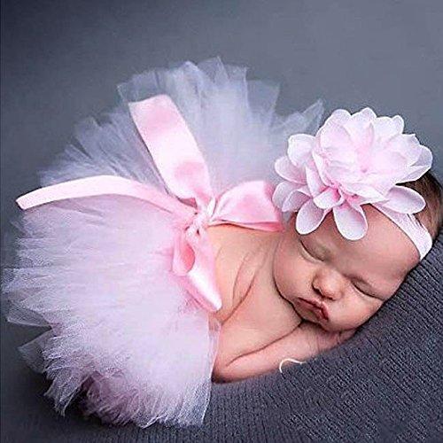 iEFiEL Foto Fotografie Outfits Baby Kostüm Tütü Rock Pettiskirt Mädchen Blumen Stirnband (Rosa B)
