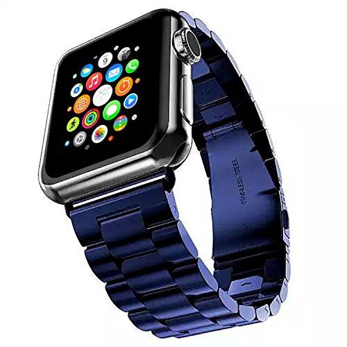 and, 38mm, 42mm, Stecker, iWatch Band Edelstahlband Handgelenkbänder Ersatz mit Durable Folding Metallverschluss für Apple Uhren (38mm, BLUE) ()