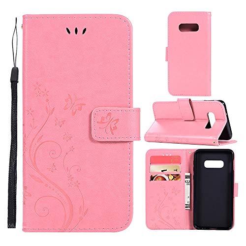 CoverKingz Handyhülle für Samsung Galaxy S10e Handy Tasche Bookcase, Schutzhülle mit Kartenfach, Schmetterling Motiv Rosa (Kamera-tasche Samsung)