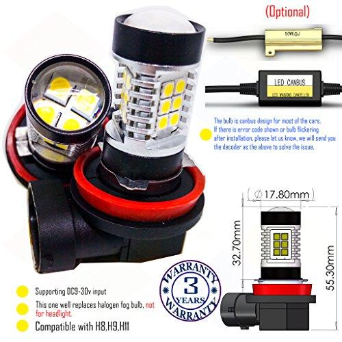 Preisvergleich Produktbild Wiseshine 5000k H9 LED-Nebelscheinwerfer lampen DC9-30v 3 Jahre Qualitätssicherung (2 Stück) H9 22smd 3030 natürliches Weiß