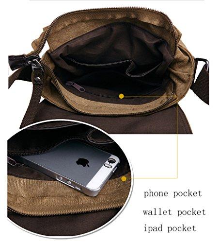 Super moderno tela messenger borsa a tracolla borsa a tracolla Cool Style fine iPad borsa tote cartella per la scuola per uomini e donne, Uomo, Black Khaki