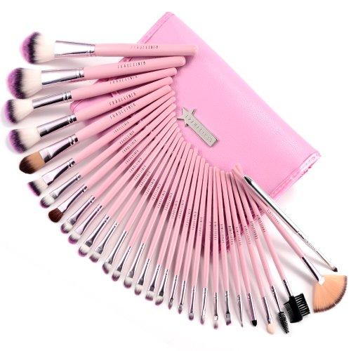 Fraulein Set de 31 Brochas Pinceles Profesional de Maquillaje con Manta Rosa #342